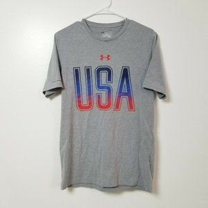 Under Armour Mens USA T Shirt Small S Loose Gray